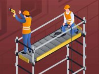 Constructors on scaffold banner. Isometric illustration of constructors on scaffold vector banner for web design