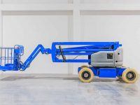 Self propeled blue telescopic boom lift platform